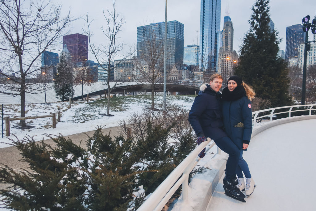 couple at Maggie Daley ice ribbon