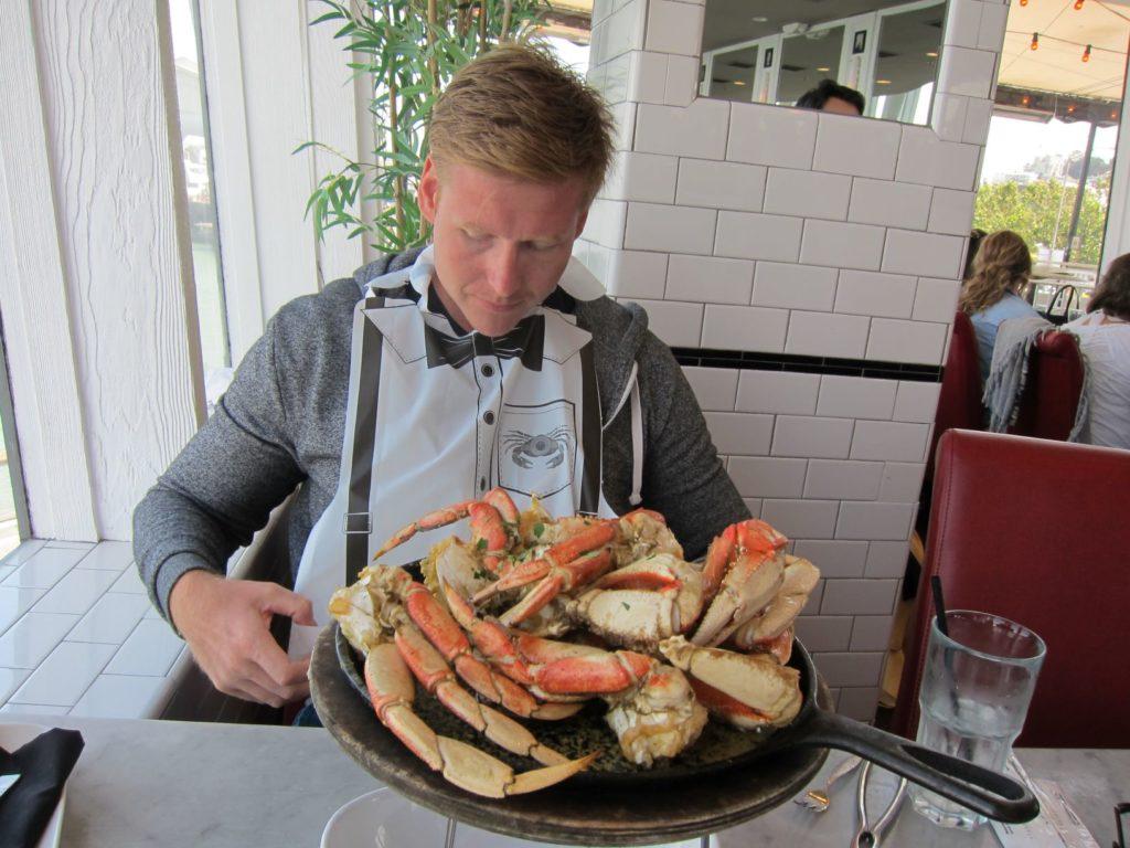 Eating crab at Fisherman's Wharf in San Francisco