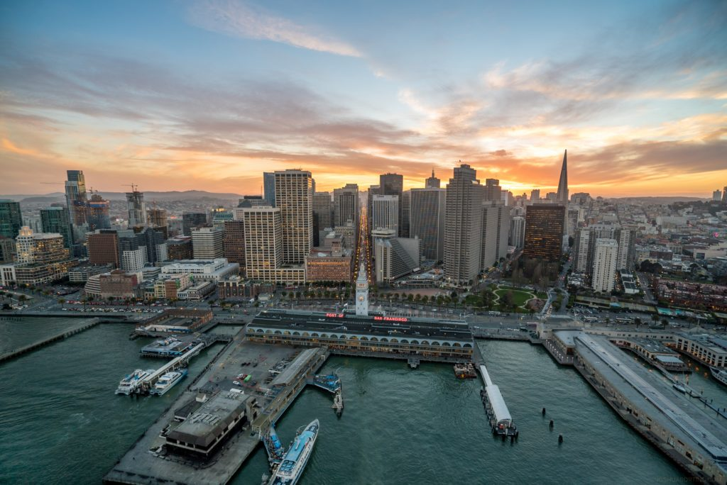 areal view of San Francisco, including Ferry Building