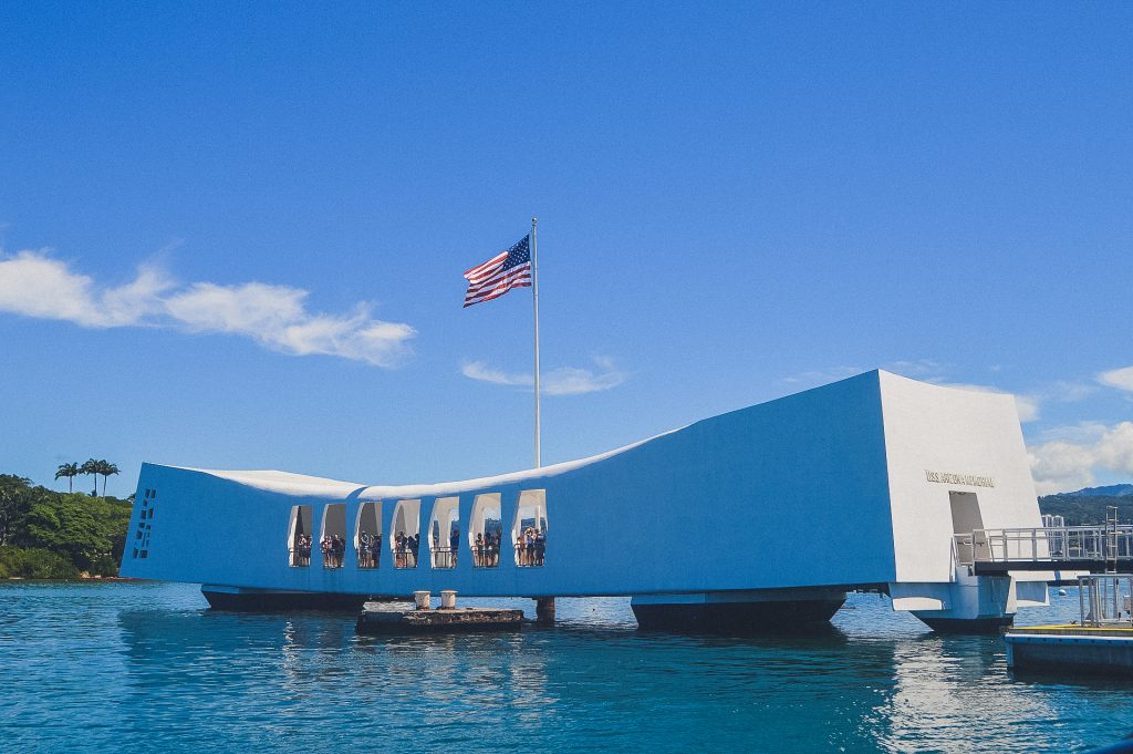 Pear Harbor memorial in Oahu on sunny day