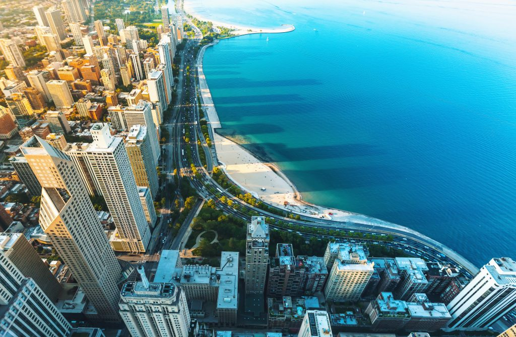 Chicago cityscape with a view of Lake Michigan from above