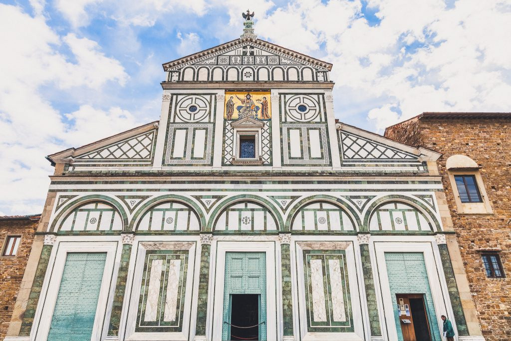 facade of Basilica San Miniato al Monte (St Minias on the Mountain) in Florence city. This roman church stands atop one of the highest points in the city.