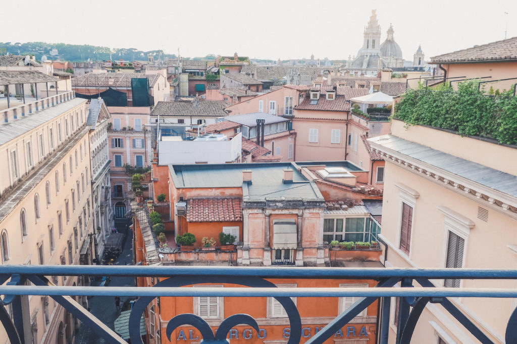 beautiful views of rooftops in rome