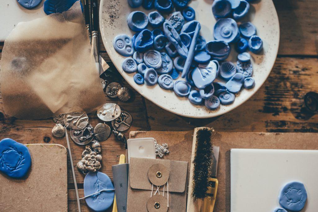 jewelry making equipment, blue beads