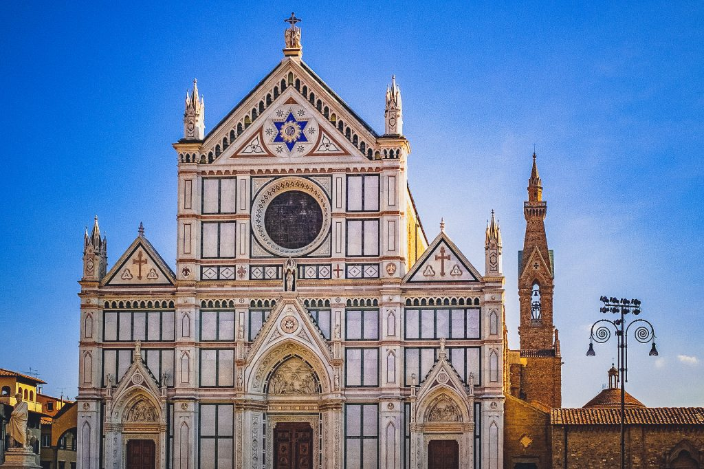 Lavish Facade of Basilica of the Holy Cross in Florence
