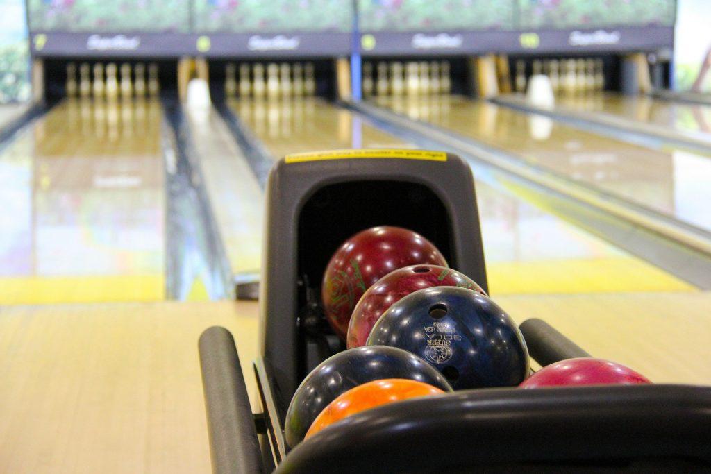 bowling balls at bowling alley