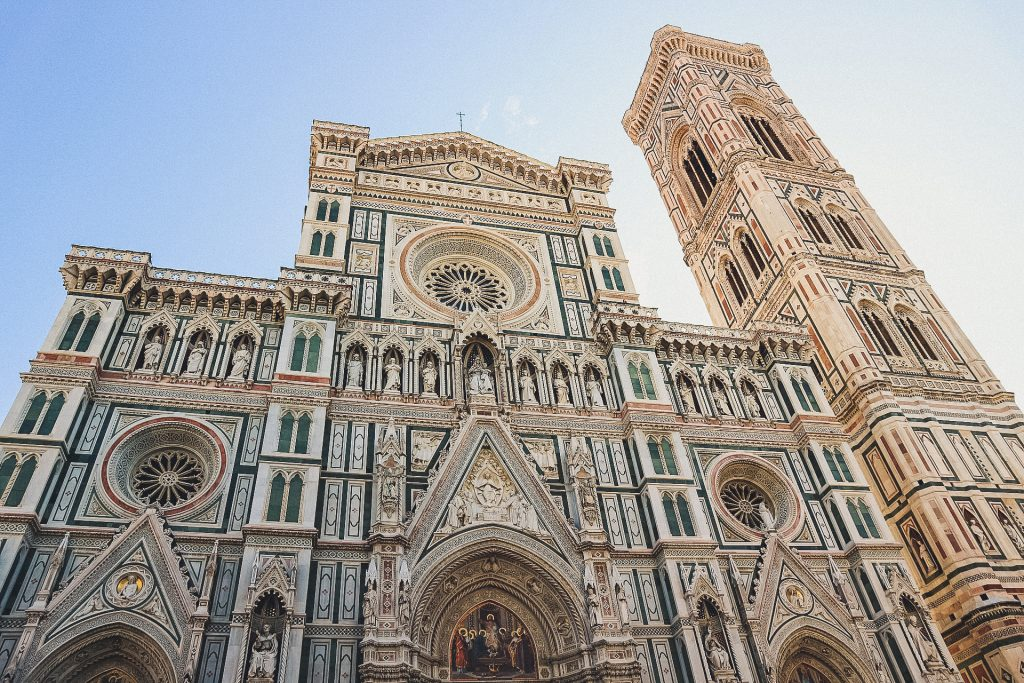 Florence Cathedral Facade covered in multicolored marble