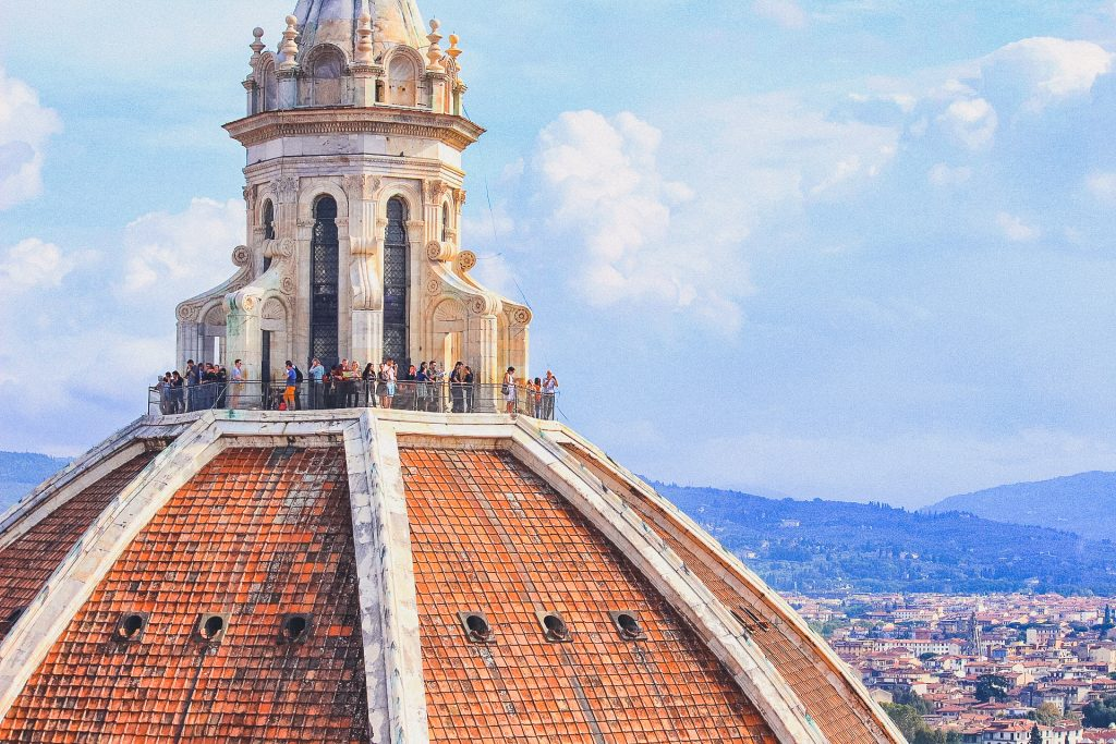 Up close of Brunelleschi's Dome, you can see the observation deck with people standing on top
