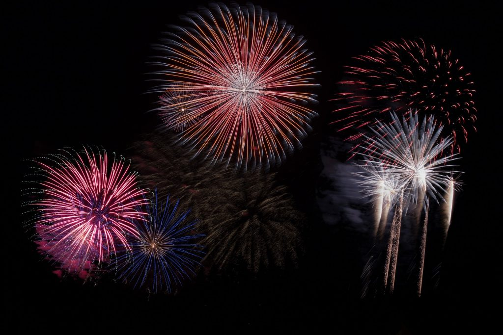 fireworks show in red and white
