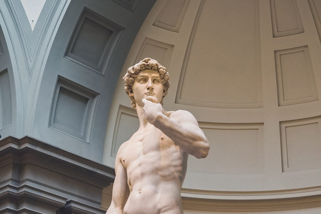 Michelangelo's sculpture David on display, the top half of his body is shown