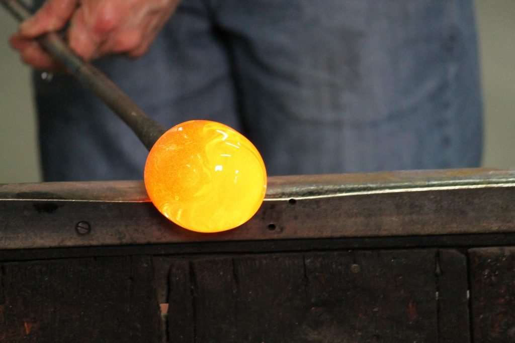 image of hot glass prior to being blown