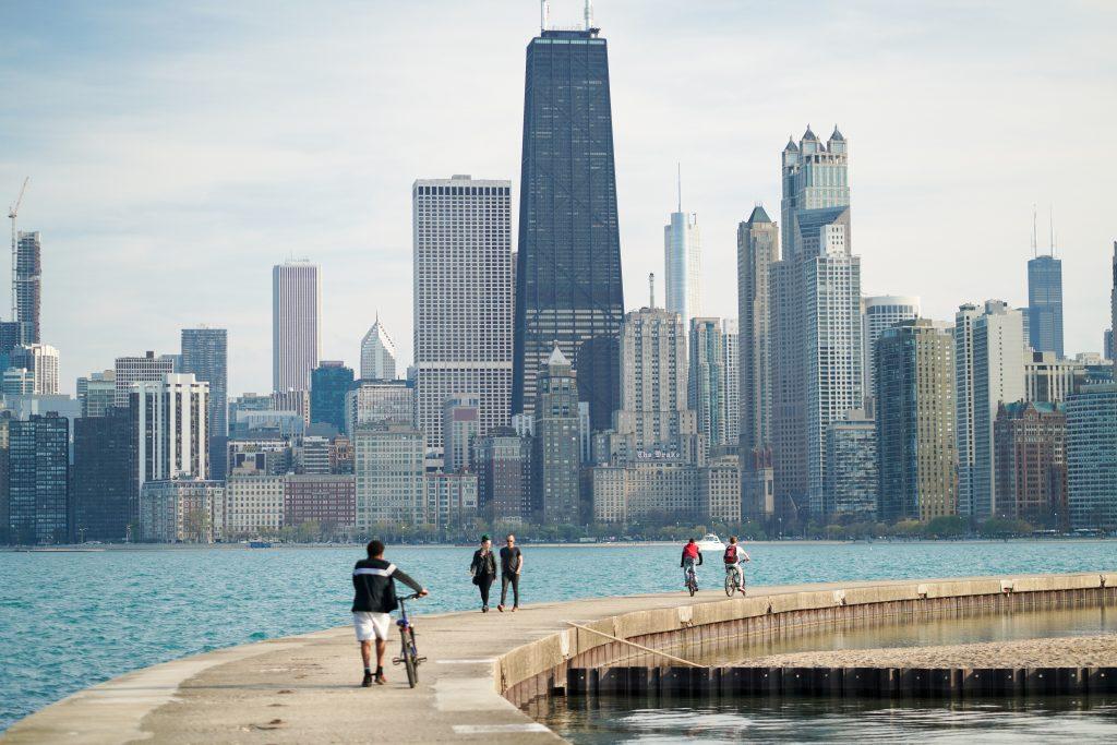 biking along Chicago's lake front