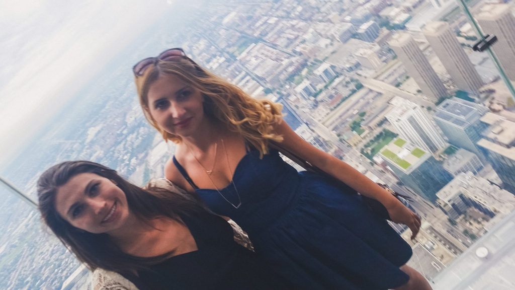 Skydeck Chicago, two women