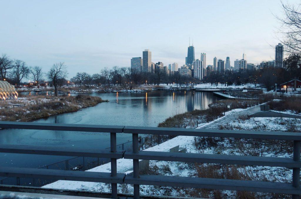 chicago skyline, winter