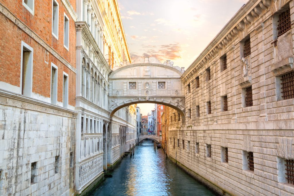 The famous Bridge of Sighs in Venice, Italy