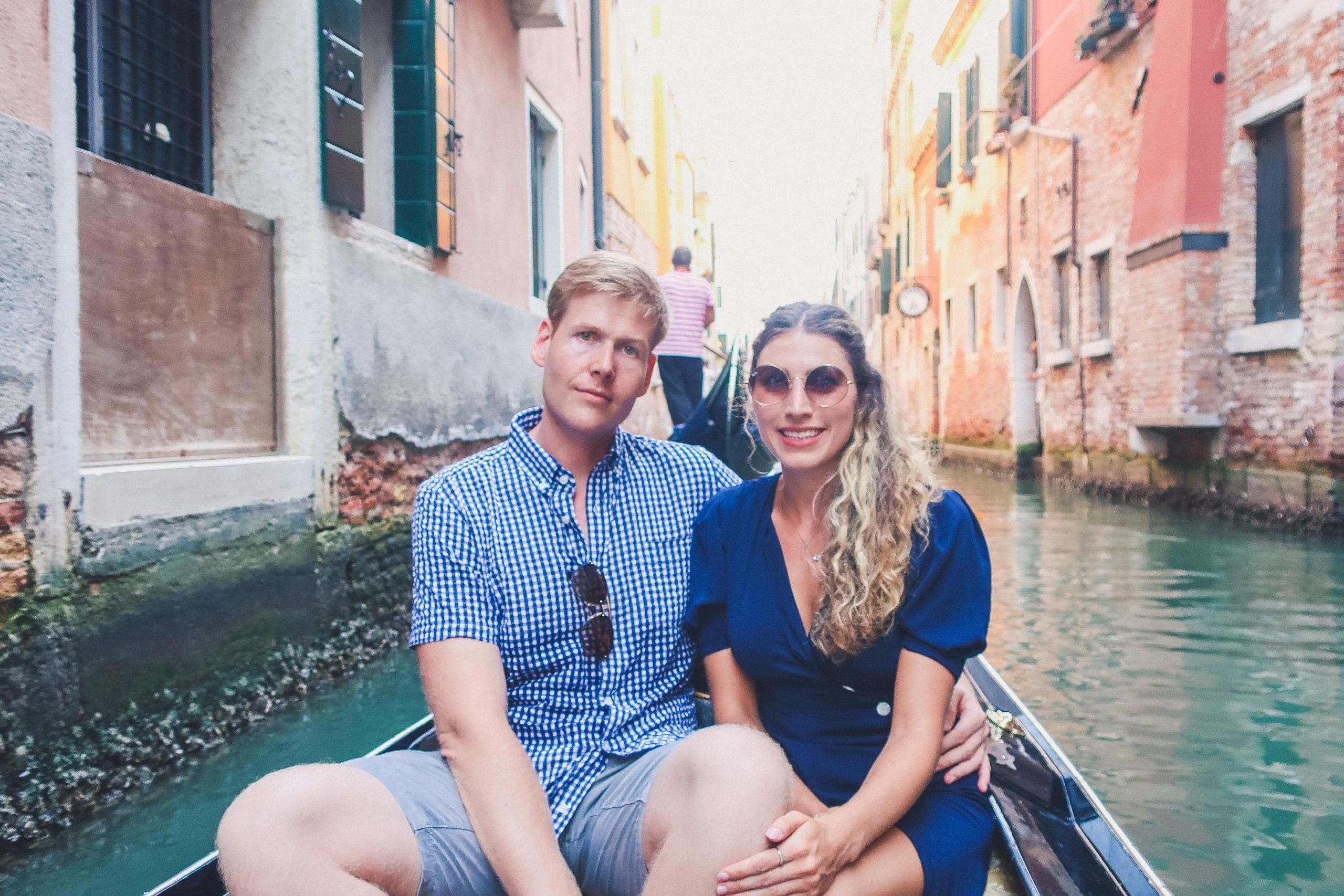 couple on a gondola ride in Venice