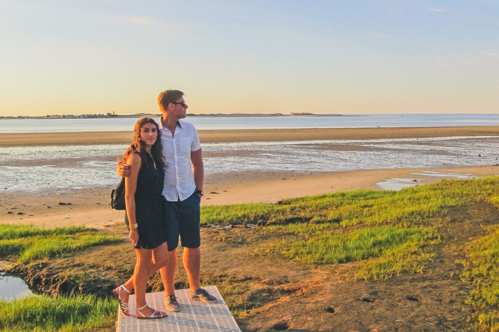 couple in Cape Cod at sunset