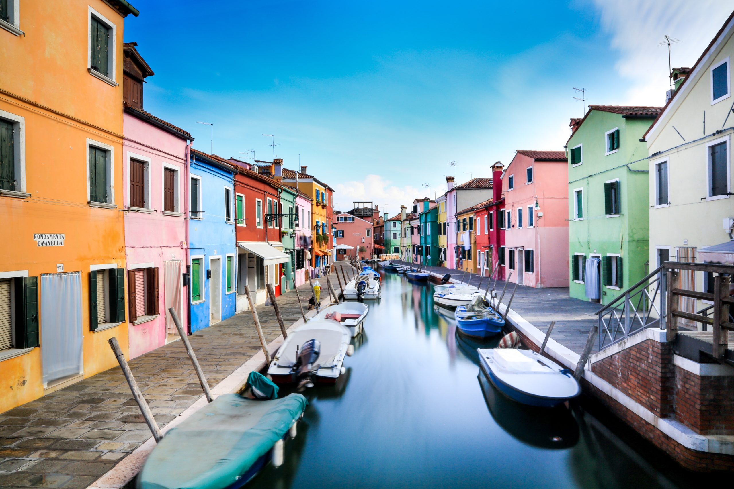 Burano in Venice, colorful homes and buildings
