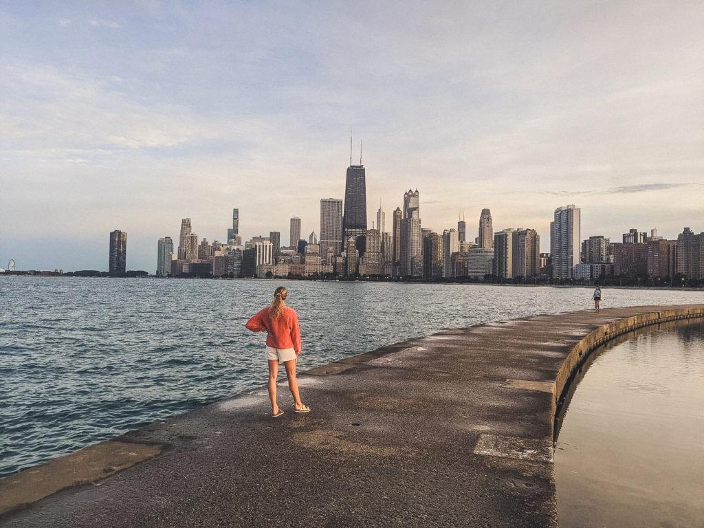Chicago skyline from around North Avenue Beach lakeshore trail
