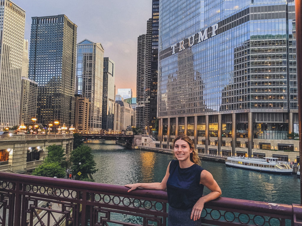 view from DuSable Bridge in Chicago