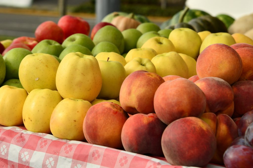 produce, apples, peaches
