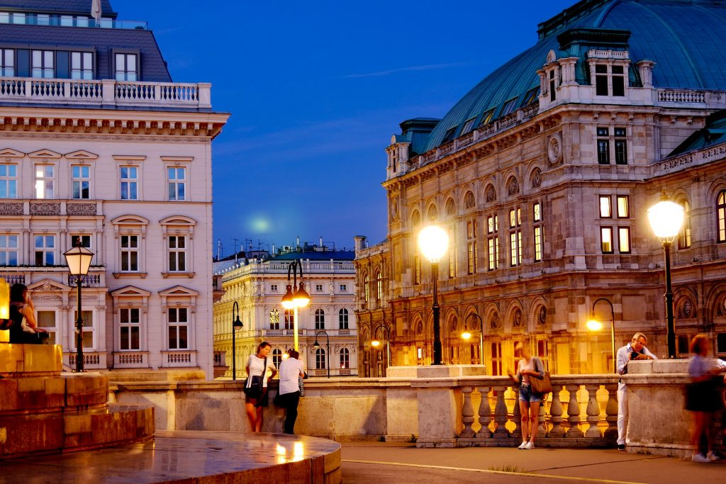 Vienna downtown as dusk