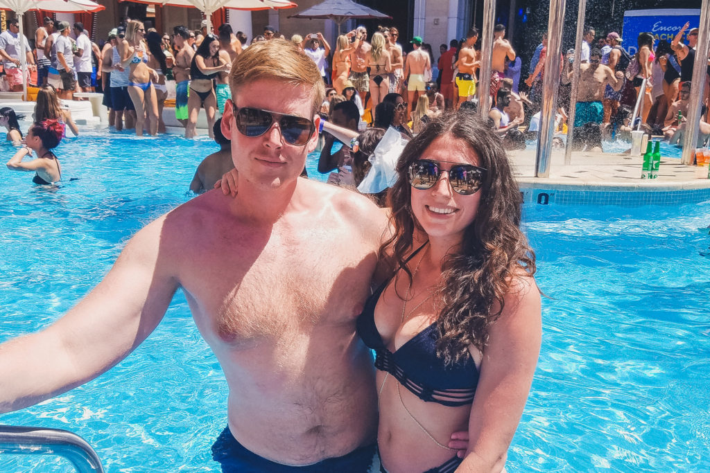 couple at Avicii pool party at Encore Beach Club