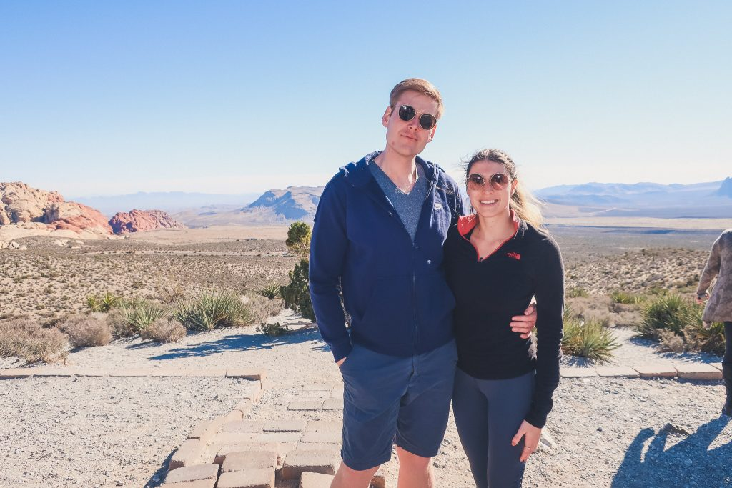 couple at red rock state park in Nevada, panoramic views