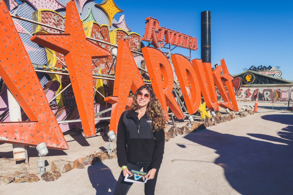 woman at the Neon Museum in Las Vegas