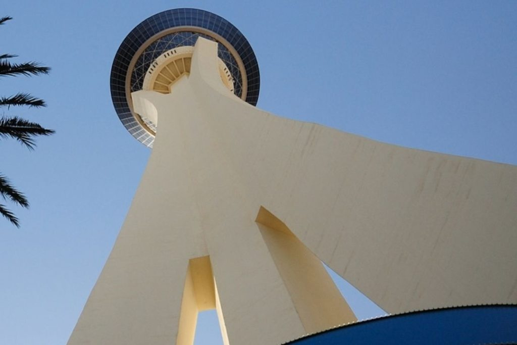 View of Stratosphere Hotel from ground level, looking up