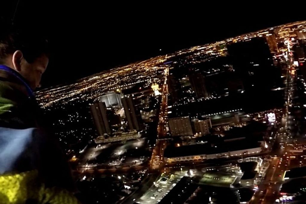 looking down from the top of the Stratosphere Hotel