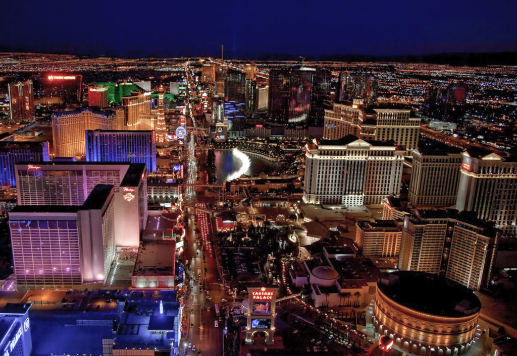 areal view of Las Vegas at night