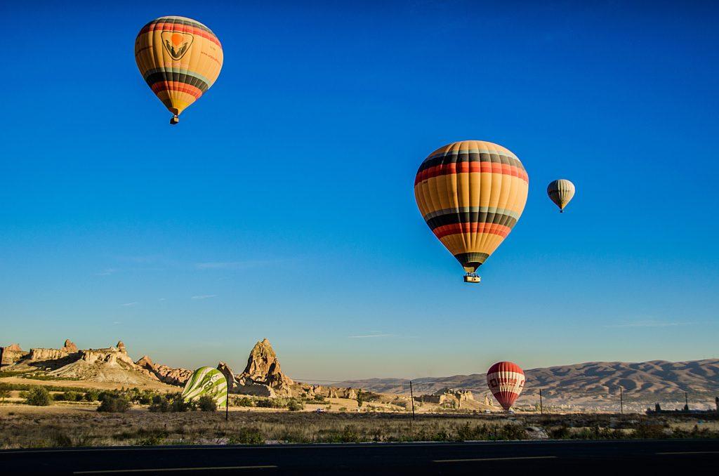hot air balloon over Nevada