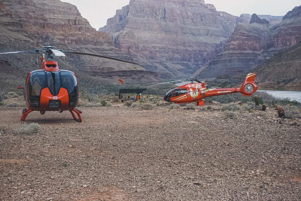 two helicopters landed at Grand Canyon USA