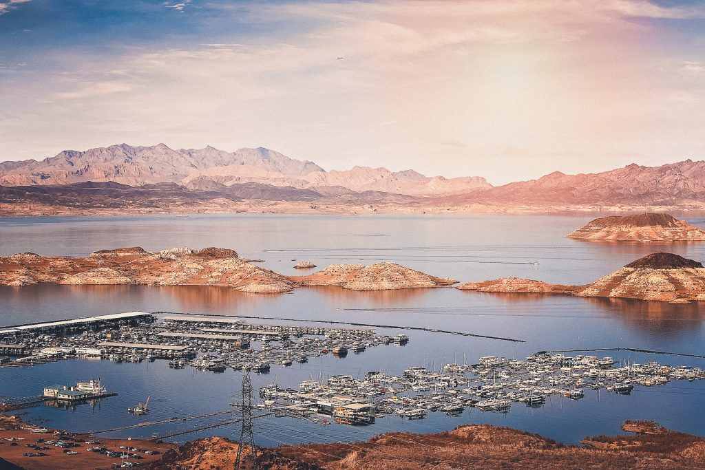 Lake Mead at sunset with many beautiful colors