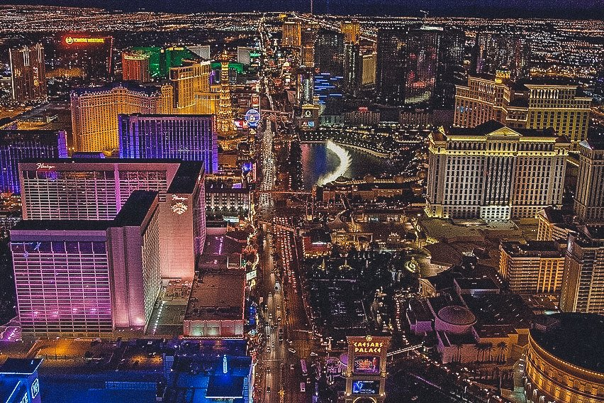 aerial view of Las Vegas Strip at night