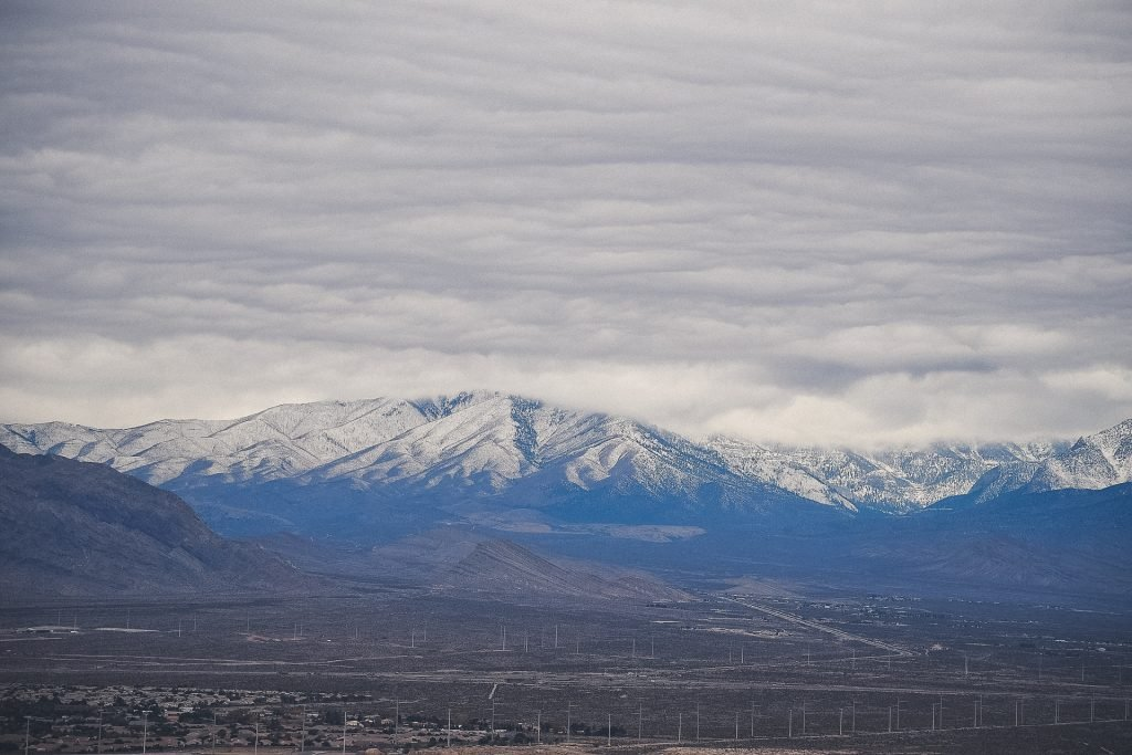 Mount Charleston in winter, overcast skies