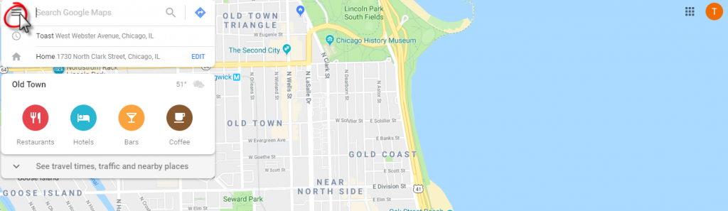 select menu in google maps