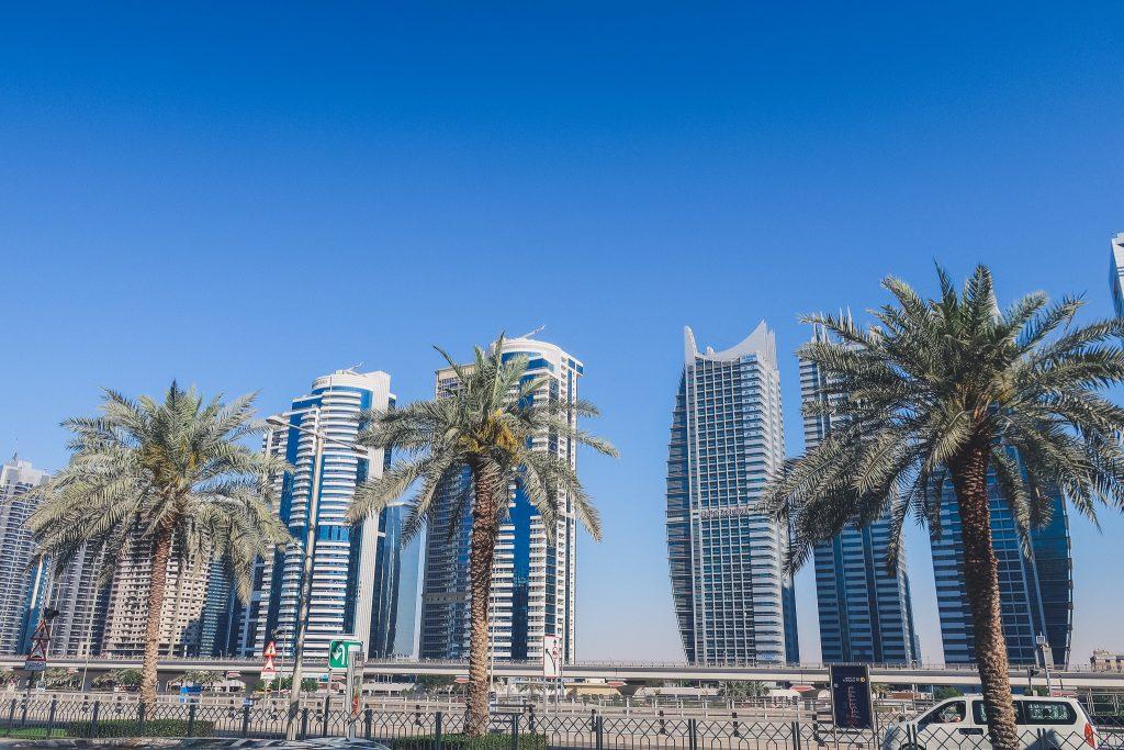 Dubai skyscrapers and palms