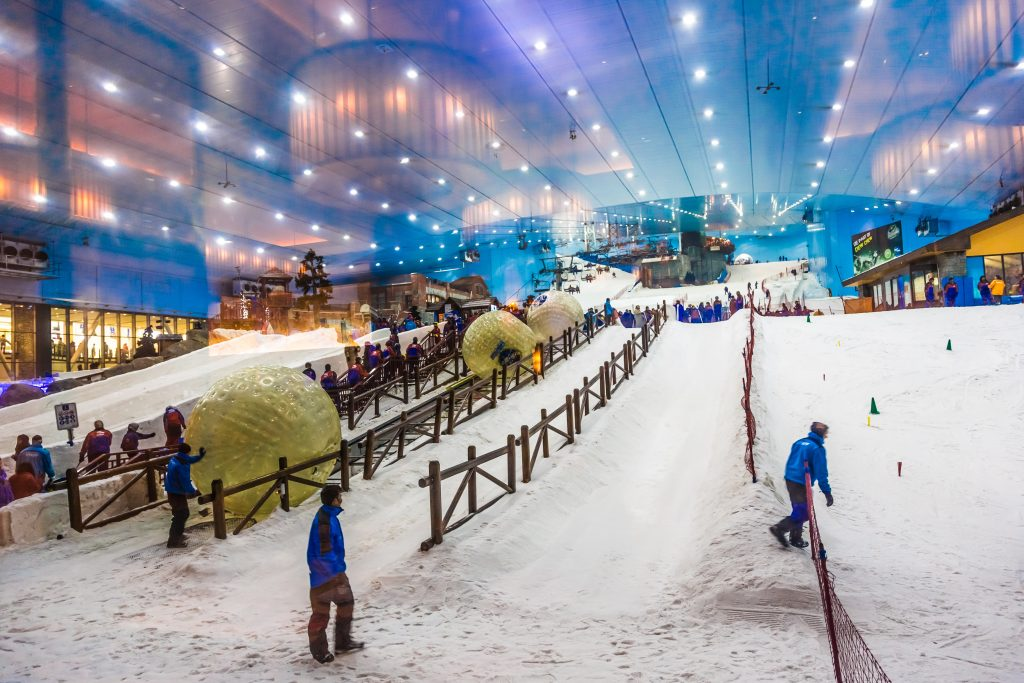 DUBAI, UAE - APRIL 6: Ski on April 6, 2013 in Dubai. Ski Dubai--is an indoor ski resort with 22,500 square meters of indoor ski area. It is a part of the Mall of the Emirates