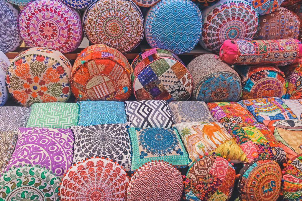 textiles, pillows, at the Dubai spice Souk