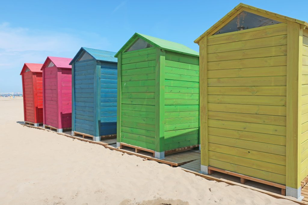 Colorful changing rooms at Patacona Beach