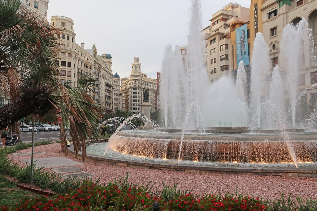 Fountain at Town Hall Square in Valencia