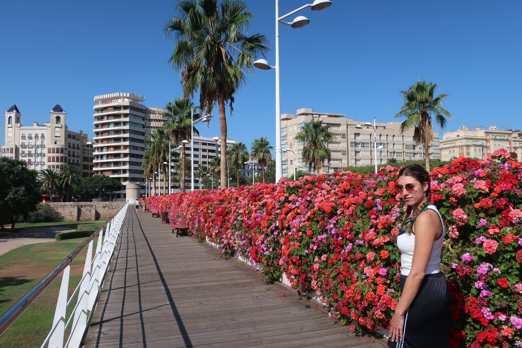 Girl on the Bridge of Flowers in Valencia