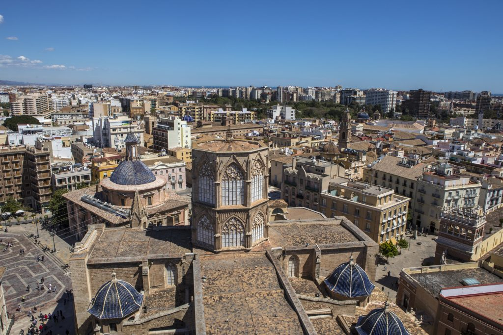 A stunning view from the Torre del Micalet or El Miguelete - the historic bell tower of Valencia Cathedral in Spain.