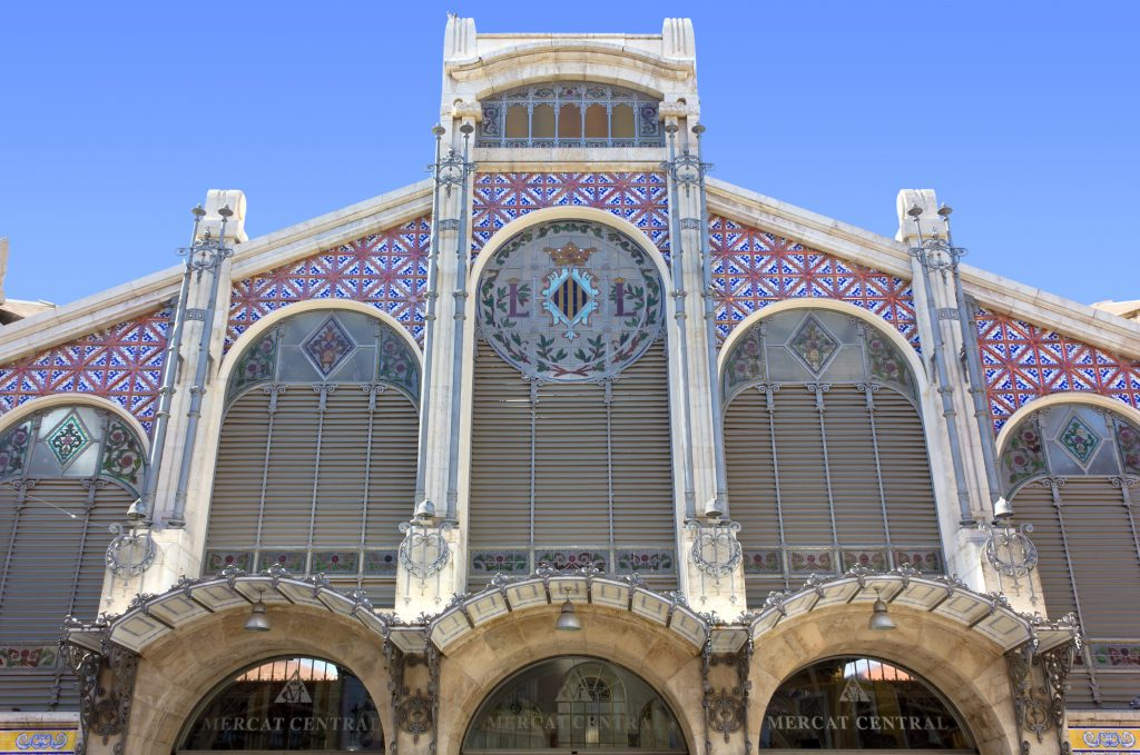Facade of the Central Market in Valencia, Spain