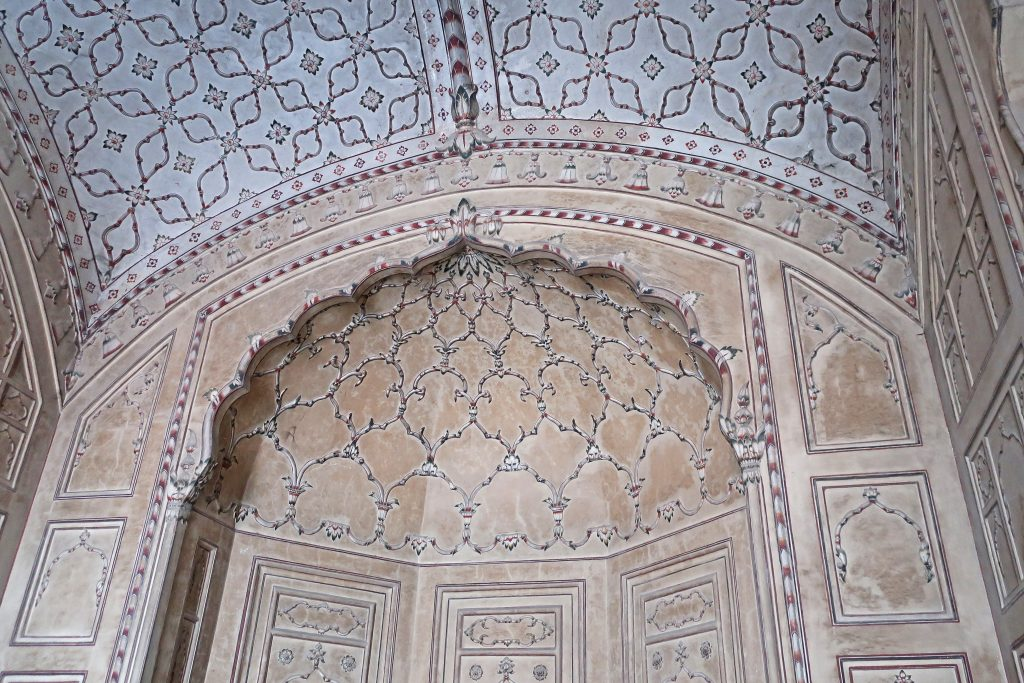 Inside the prayer hall of the Badshahi Mosque