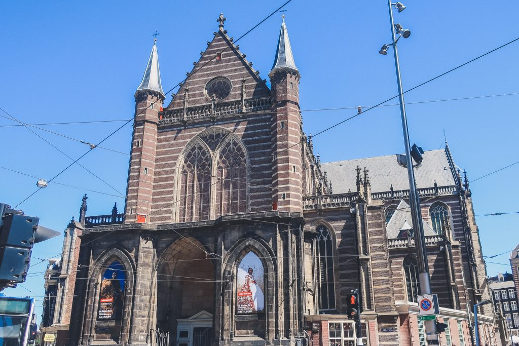 Facade of New Church in Amsterdam