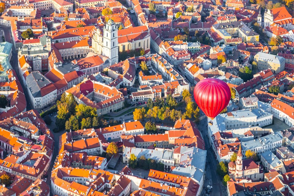 Hot air balloon flying over Vilnius. Lithuania