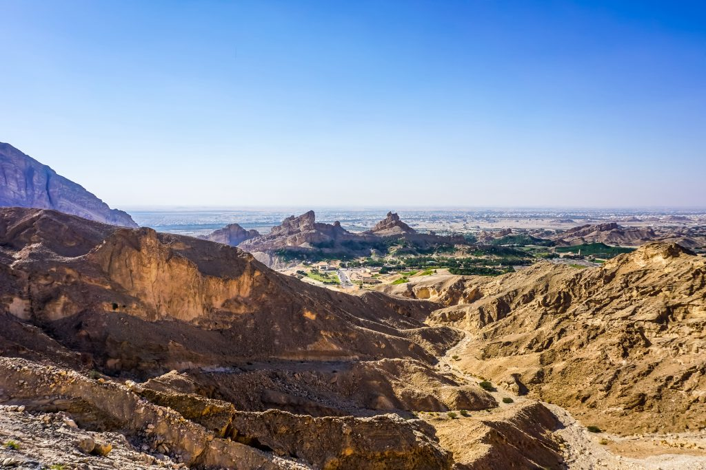 Al Ain Jabal Hafeet Picturesque Mountain Peaks View with Blue Sky Background